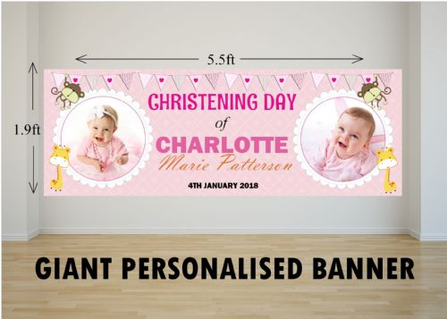Personalised GIANT Large Girls Animal Christening Baptism Poster Banner N24